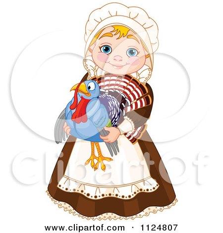 Cartoon Of A Cute Thanksgiving Pilgrim Woman Holding A Turkey Bird - Royalty Free Vector Clipart by Pushkin