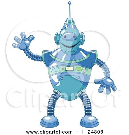 Cartoon Of A Friendly Blue Robot Waving - Royalty Free Vector Clipart by Pushkin
