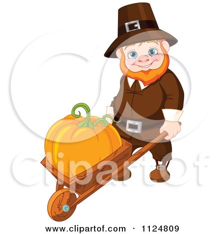 Cartoon Of A Happy Thanksgiving gnome Man Pushing A Pumpkin In A Wheelbarrow - Royalty Free Vector Clipart by Pushkin