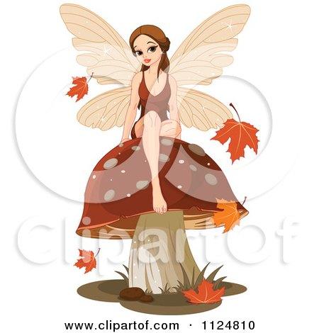 Cartoon Of A Beautiful Autumn Fairy Sitting On A Mushroom - Royalty Free Vector Clipart by Pushkin