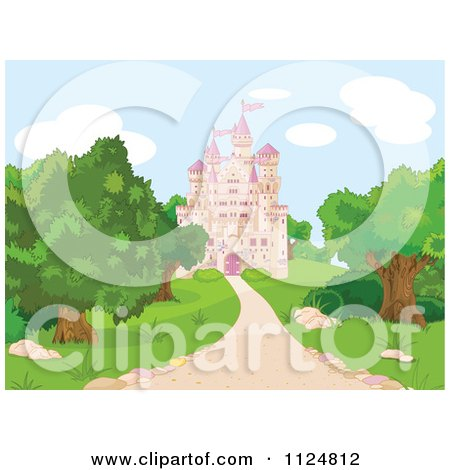 Cartoon Of A Pink Fairy Tale Castle And Grounds - Royalty Free Vector Clipart by Pushkin