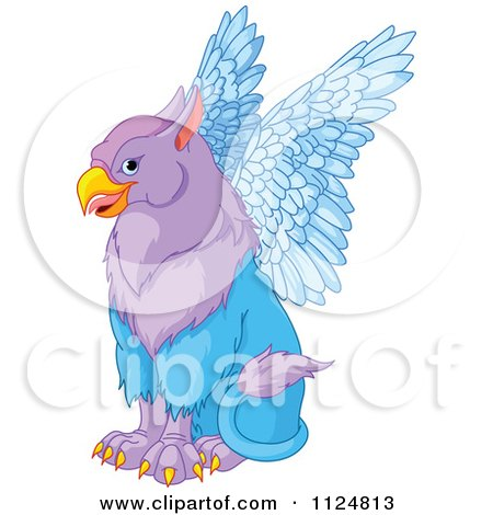Cartoon Of A Cute Purple Griffin Fantasy Creature Sitting - Royalty Free Vector Clipart by Pushkin