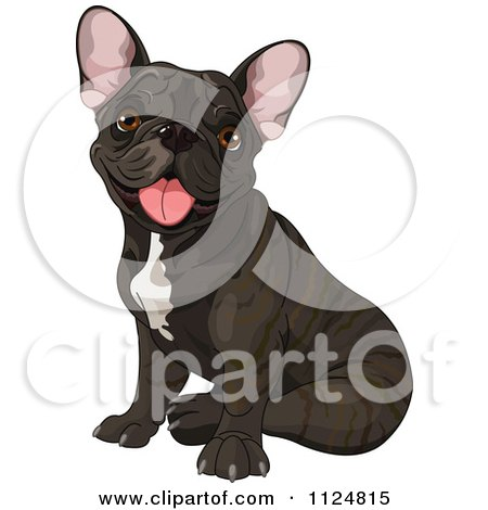 Cartoon Of A Cute Black Frenchie Bulldog Sitting - Royalty Free Vector Clipart by Pushkin