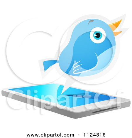 Cartoon Of A Social Networking Bluebird Over A Cell Phone - Royalty Free Vector Clipart by Qiun