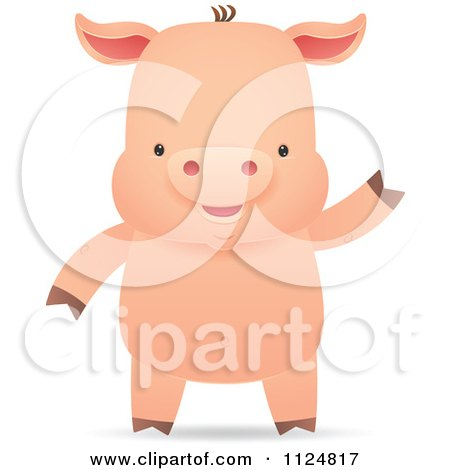 Cartoon Of A Cute Piggy Smiling And Waving - Royalty Free Vector Clipart by Qiun