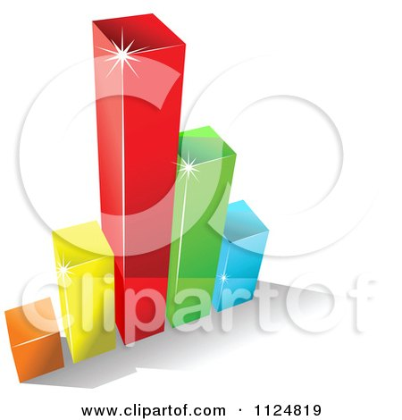Clipart Of A 3d Colorful Bar Graph And Shadow 8 - Royalty Free Vector Illustration by Vector Tradition SM