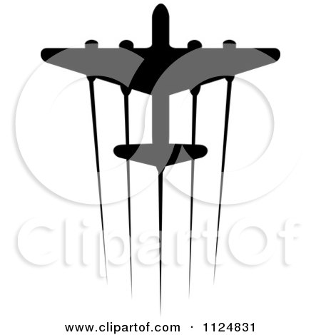 Clipart Of A Black Silhouetted Airplane And Trails 5 - Royalty Free Vector Illustration by Vector Tradition SM