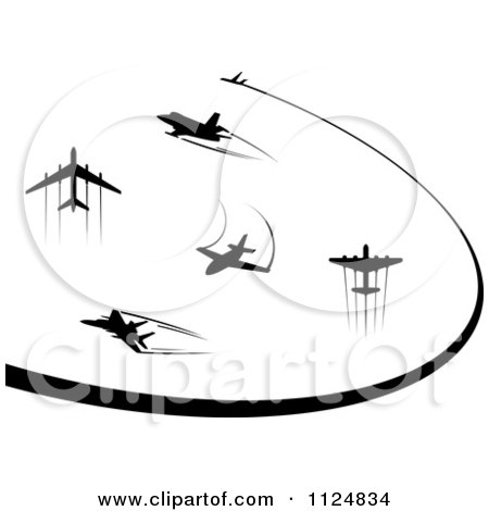Clipart Of Black Silhouetted Airplanes And Trails - Royalty Free Vector Illustration by Vector Tradition SM