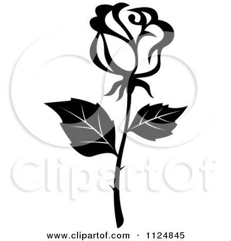 Clipart Of A Black And White Rose Flower 16 - Royalty Free Vector Illustration by Vector Tradition SM