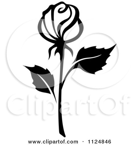 Clipart Of A Black And White Rose Flower 15 - Royalty Free Vector Illustration by Vector Tradition SM