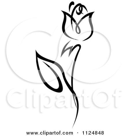 Clipart Of A Black And White Rose Flower 9 - Royalty Free Vector Illustration by Vector Tradition SM
