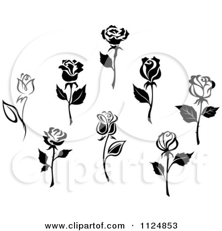 Clipart Of Black And White Rose Flowers 2 - Royalty Free Vector ...