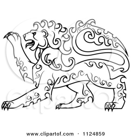 Clipart Of Heraldic Lions 2 - Royalty Free Vector Illustration by ...