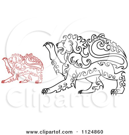 Clipart Of Red And Black Curly Haired Royal Heraldic Lions - Royalty Free Vector Illustration by Vector Tradition SM