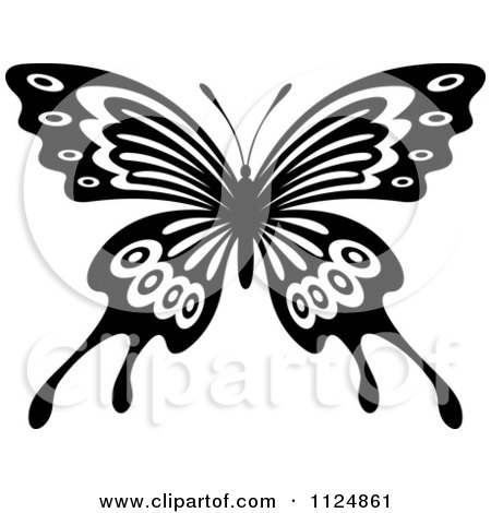 Clipart Of A Black And White Butterfly 19 - Royalty Free Vector Illustration by Vector Tradition SM
