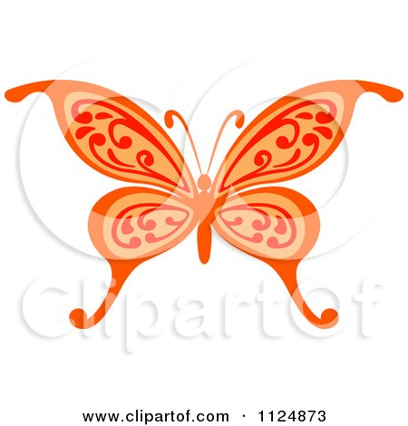 Clipart Of An Ornate Orange Butterfly - Royalty Free Vector Illustration by Vector Tradition SM