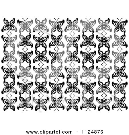 Clipart Of A Black And White Butterfly Seamless Background Pattern 6 - Royalty Free Vector Illustration by Vector Tradition SM