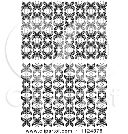 Clipart Of Black And White Butterfly Seamless Background Patterns 2 - Royalty Free Vector Illustration by Vector Tradition SM