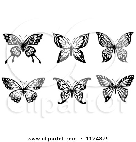 Clipart Of Black And White Butterflies 2 - Royalty Free Vector Illustration by Vector Tradition SM