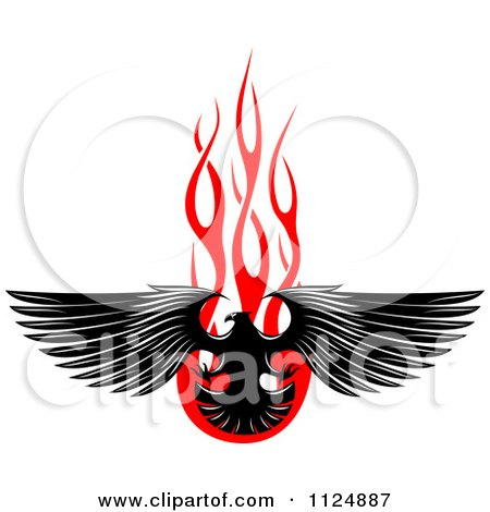 Clipart Of A Black Eagle Over Red Flames 2 - Royalty Free Vector Illustration by Vector Tradition SM