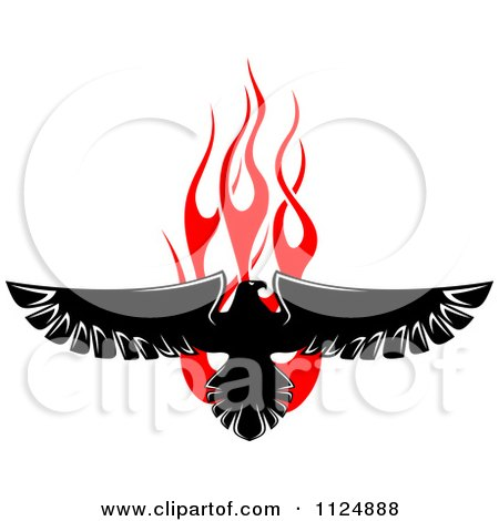 Clipart Of A Black Eagle Over Red Flames 1 - Royalty Free Vector Illustration by Vector Tradition SM