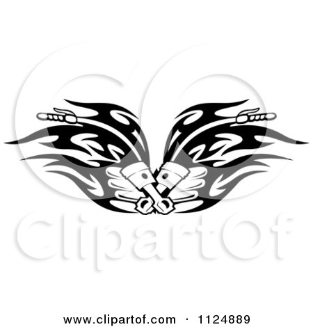 Clipart Of Black And White Piston Tribal Flaming Motorcycle Biker Handlebars - Royalty Free Vector Illustration by Vector Tradition SM