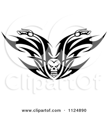 Clipart Of Black And White Skull Tribal Flaming Motorcycle Biker Handlebars - Royalty Free Vector Illustration by Vector Tradition SM