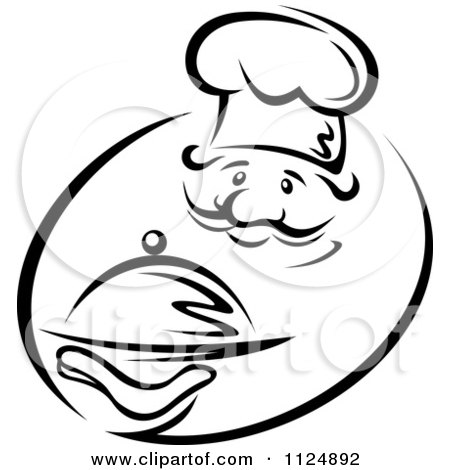 Clipart Of A Black And White Chef Holding A Cloche Royalty Free Vector Illustration