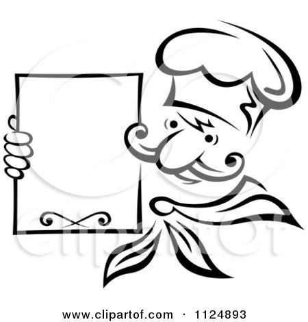 Clipart Of A Black And White Chef Holding A Menu Board - Royalty Free Vector Illustration by Vector Tradition SM