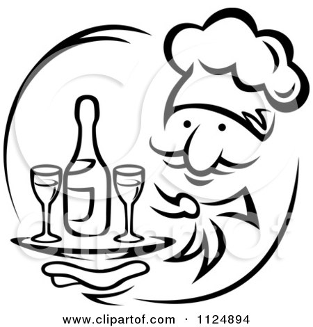 Clipart Of A Black And White Chef Holding A Tray With Wine - Royalty Free Vector Illustration by Vector Tradition SM