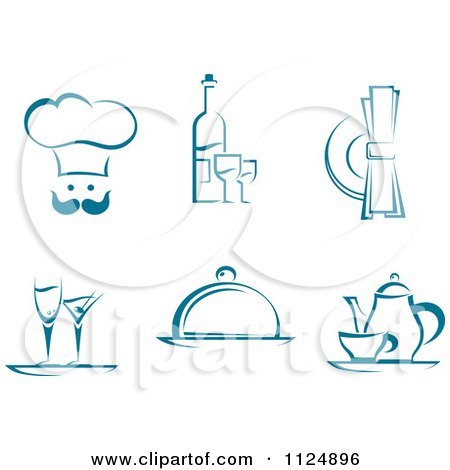Clipart Of Teal Chef Beverage And Dining Designs - Royalty Free Vector Illustration by Vector Tradition SM