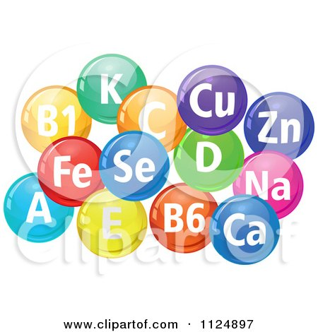 Clipart Of Colorful Pills With Chemical Element Abbreviations - Royalty Free Vector Illustration by Vector Tradition SM