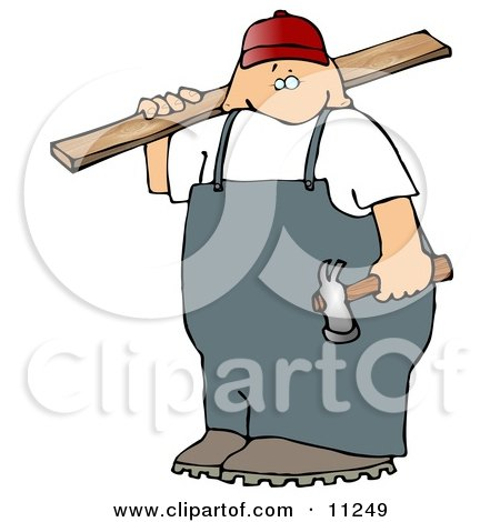 Male Carpenter Man Carrying Plywood and a Hammer Posters, Art Prints