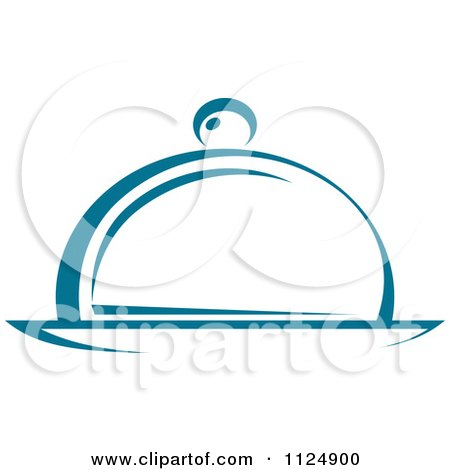 Clipart Of A Teal Food Cloche And Platter - Royalty Free Vector Illustration by Vector Tradition SM
