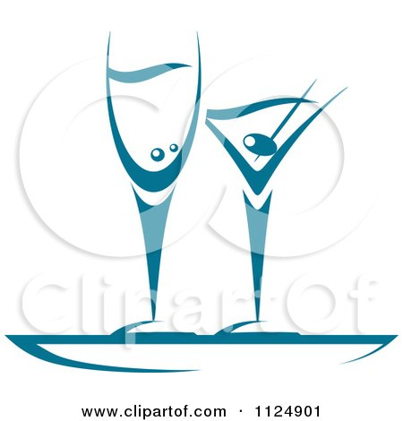 Clipart Of Teal Champagne And Martini Glasses - Royalty Free Vector Illustration by Vector Tradition SM