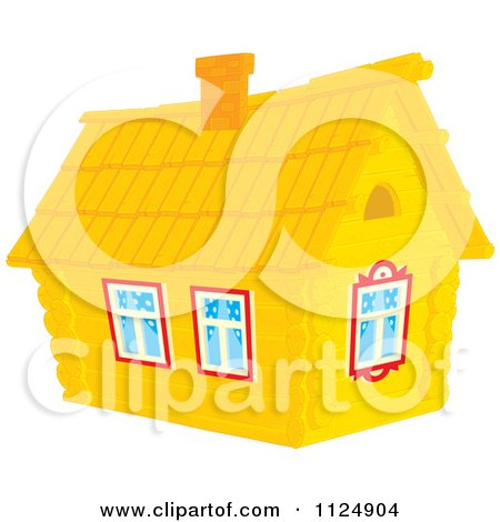 Cartoon Of A Log Cabin Home - Royalty Free Vector Clipart by Alex Bannykh