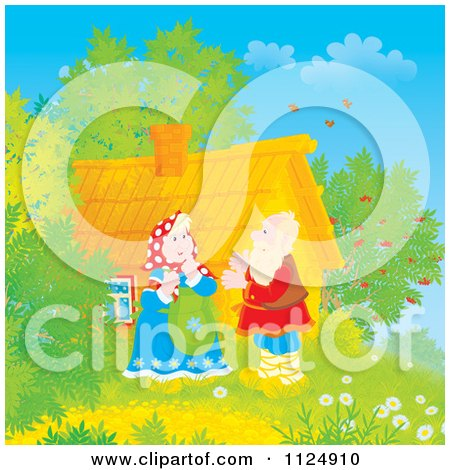 Cartoon Of A Happy Old Couple By Their Log Cabin - Royalty Free Clipart by Alex Bannykh