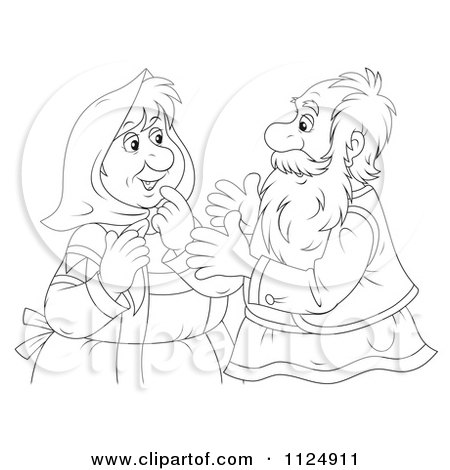 Cartoon Of An Outlined Old Couple Talking - Royalty Free Clipart by Alex Bannykh