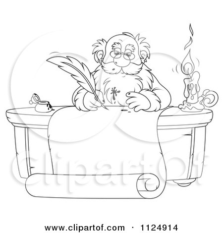 Cartoon Of An Outlined Santa Writing With A Messy Ink Quill - Royalty Free Clipart by Alex Bannykh