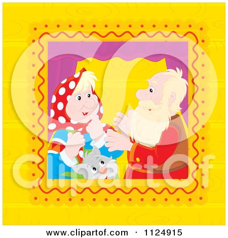 Cartoon Of A Cat And Senior Couple Talking In A Window - Royalty Free Vector Clipart by Alex Bannykh