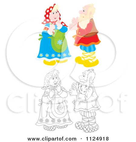 Cartoon Of Colored And Outlined Old Couples Talking - Royalty Free Clipart by Alex Bannykh