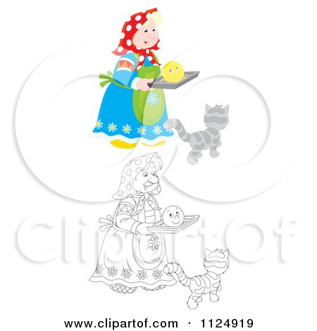 Cartoon Of A Colored And Outlined Woman With A Smiley Face And Cat - Royalty Free Clipart by Alex Bannykh