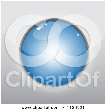 Clipart Of A 3d Reflective Blue Circle - Royalty Free Vector Illustration by vectorace