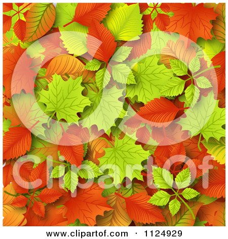 Clipart Of An Autumn Leaf Background - Royalty Free Vector Illustration by vectorace
