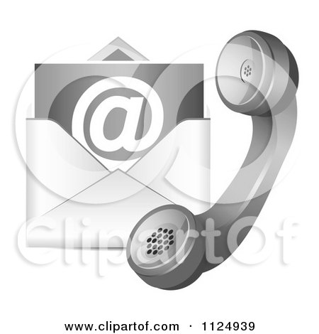Clipart Of A Contact Icon Of A Telephone And Email Envelope - Royalty Free Vector Illustration by vectorace