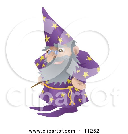 Old Male Wizard With a Magic Standing With His Hands on His Hips Clipart Illustration by AtStockIllustration