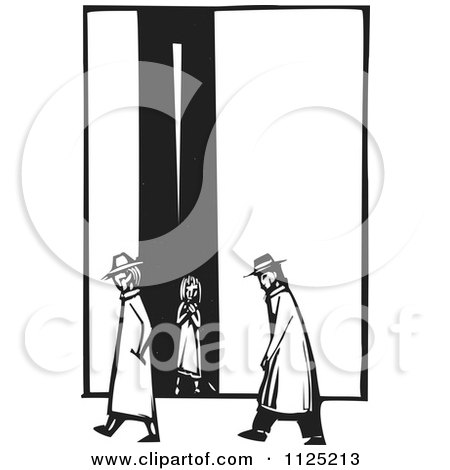Clipart Of People Passing A Girl In An Alley Black And White Woodcut - Royalty Free Vector Illustration by xunantunich