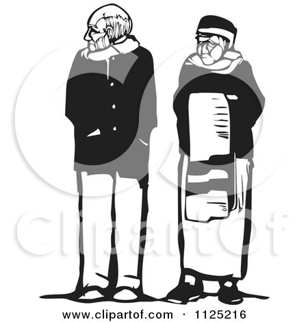 Clipart Of A Senior Man And Woman Black And White Woodcut - Royalty Free Vector Illustration by xunantunich
