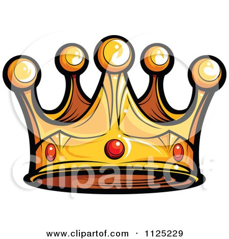 Cartoon Of A Golden King Crown With Ruby Gems