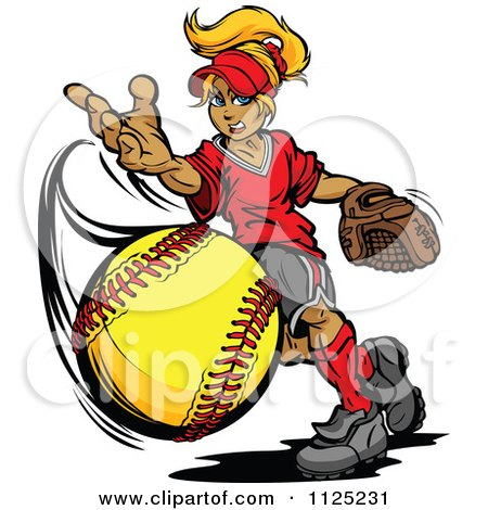 Cartoon Of A Blond Tomboy Girl Pitching A Softball - Royalty Free Vector Clipart by Chromaco